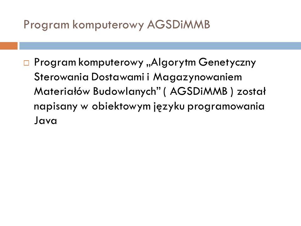 Program komputerowy AGSDiMMB Program komputerowy Algorytm Genetyczny Sterowania Dostawami i Magazynowaniem Materiałów Budowlanych ( AGSDiMMB ) został