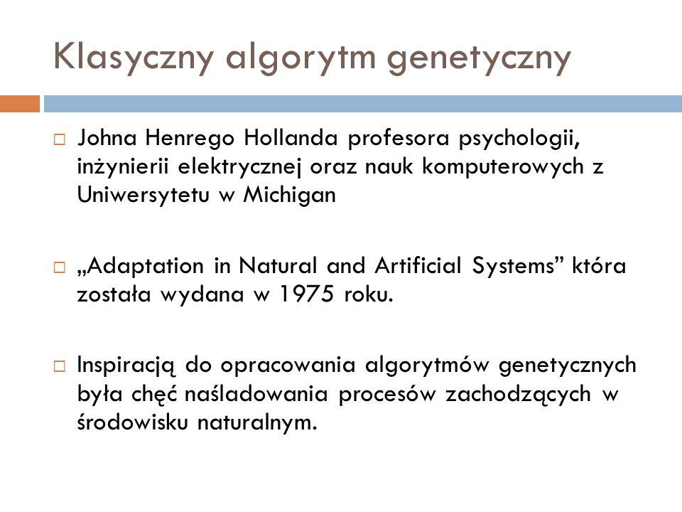 Klasyczny algorytm genetyczny Johna Henrego Hollanda profesora psychologii, inżynierii elektrycznej oraz nauk komputerowych z Uniwersytetu w Michigan