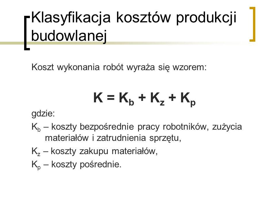 Klasyfikacja kosztów produkcji budowlanej Koszt wykonania robót wyraża się wzorem: K = K b + K z + K p gdzie: K b – koszty bezpośrednie pracy robotników, zużycia materiałów i zatrudnienia sprzętu, K z – koszty zakupu materiałów, K p – koszty pośrednie.