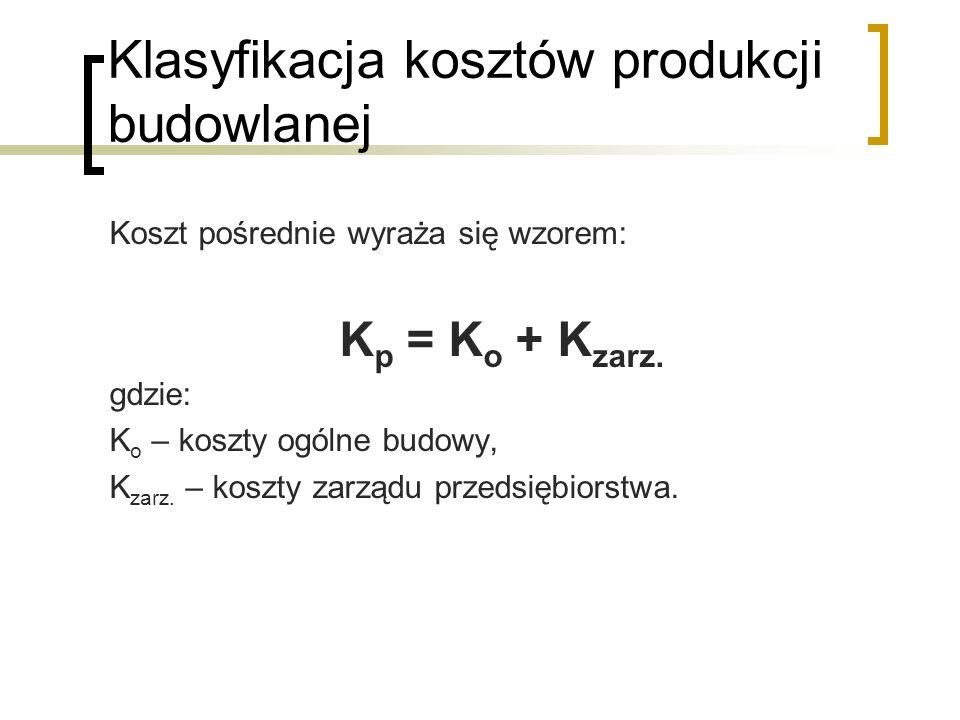 Klasyfikacja kosztów produkcji budowlanej Koszt pośrednie wyraża się wzorem: K p = K o + K zarz.