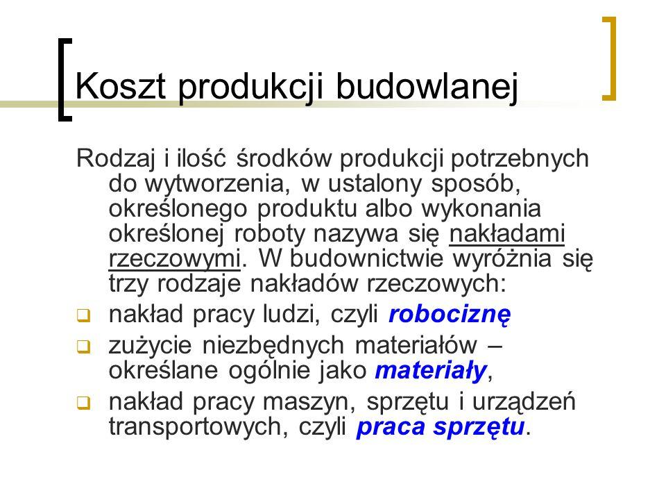 Koszt produkcji budowlanej Rodzaj i ilość środków produkcji potrzebnych do wytworzenia, w ustalony sposób, określonego produktu albo wykonania określonej roboty nazywa się nakładami rzeczowymi.