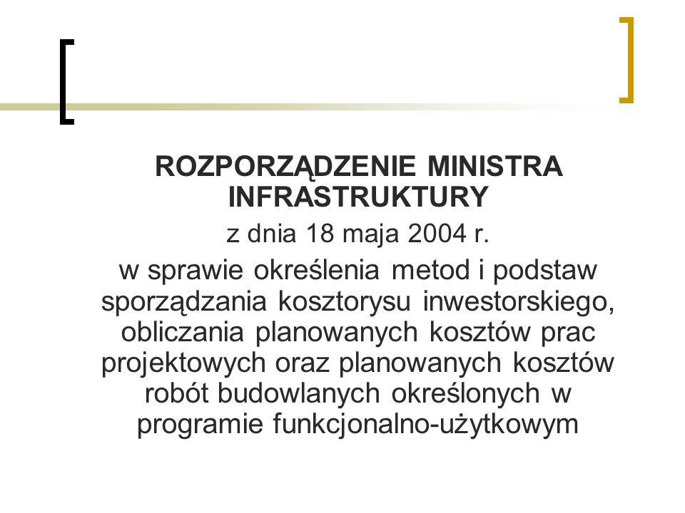 ROZPORZĄDZENIE MINISTRA INFRASTRUKTURY z dnia 18 maja 2004 r. w sprawie określenia metod i podstaw sporządzania kosztorysu inwestorskiego, obliczania