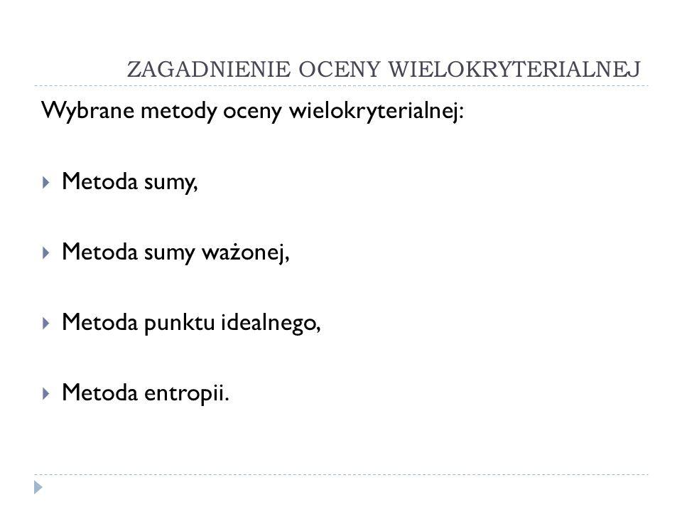 ZAGADNIENIE OCENY WIELOKRYTERIALNEJ Wybrane metody oceny wielokryterialnej: Metoda sumy, Metoda sumy ważonej, Metoda punktu idealnego, Metoda entropii