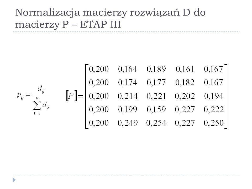 Normalizacja macierzy rozwiązań D do macierzy P – ETAP III