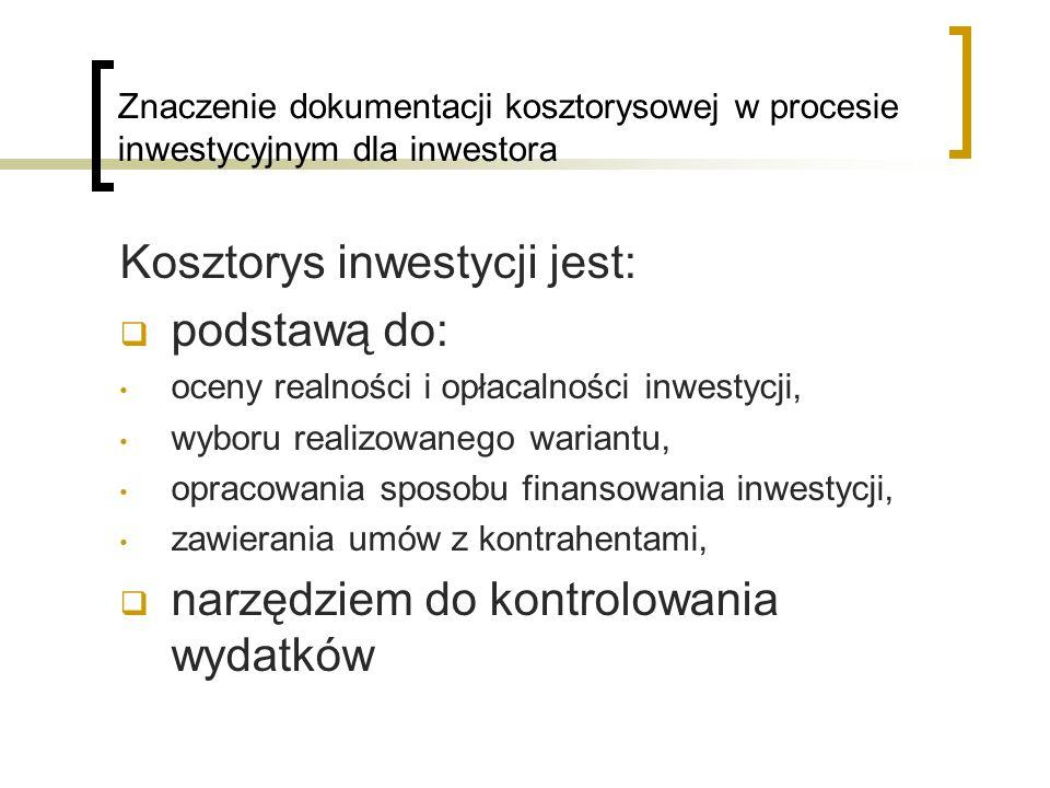 Znaczenie dokumentacji kosztorysowej w procesie inwestycyjnym dla inwestora Kosztorys inwestycji jest: podstawą do: oceny realności i opłacalności inw