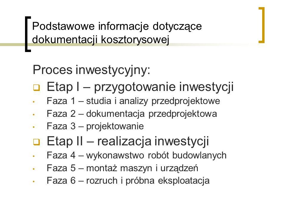 Proces inwestycyjny: Etap I – przygotowanie inwestycji Faza 1 – studia i analizy przedprojektowe Faza 2 – dokumentacja przedprojektowa Faza 3 – projek