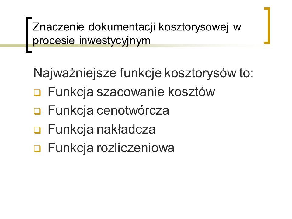Znaczenie dokumentacji kosztorysowej w procesie inwestycyjnym Najważniejsze funkcje kosztorysów to: Funkcja szacowanie kosztów Funkcja cenotwórcza Fun