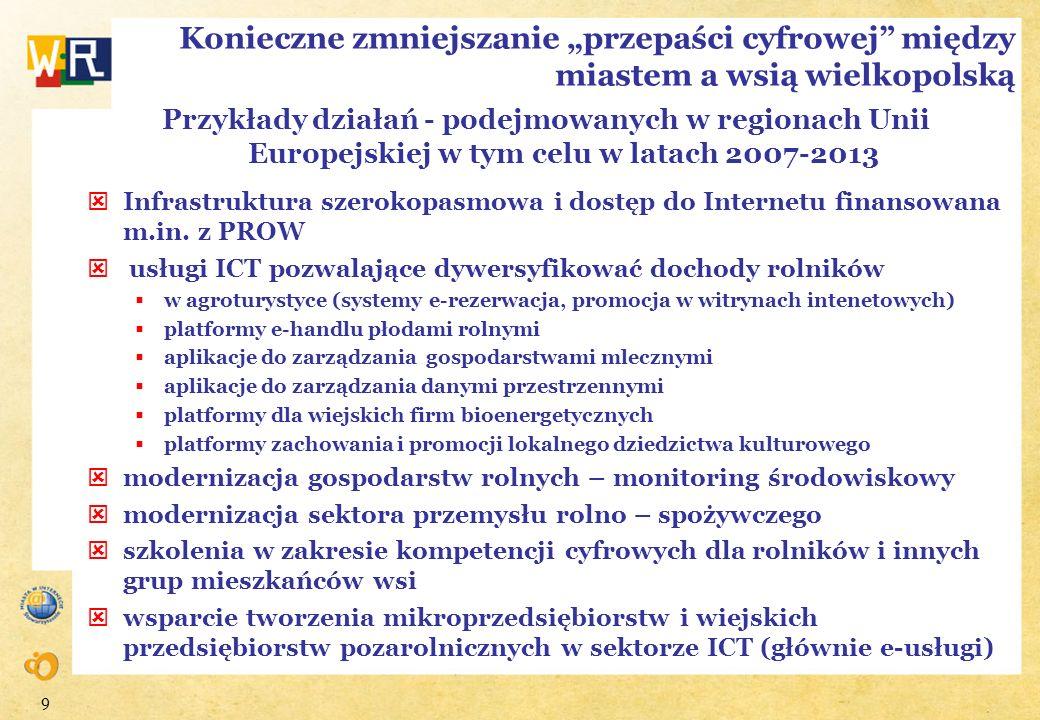 9 Konieczne zmniejszanie przepaści cyfrowej między miastem a wsią wielkopolską Przykłady działań - podejmowanych w regionach Unii Europejskiej w tym c