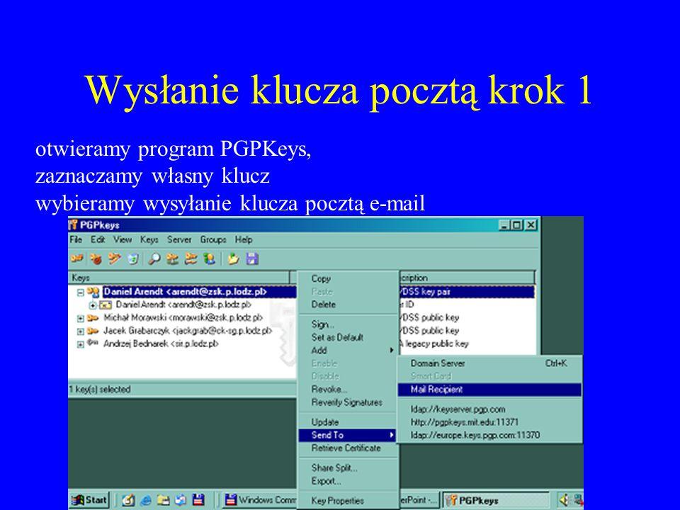 Wysłanie klucza pocztą krok 2 Do klucz@sir.p.lodz.pl