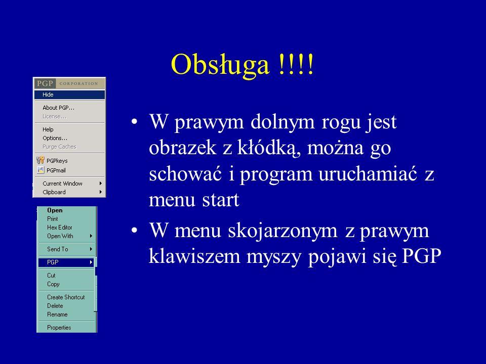 Obsługa !!!! W prawym dolnym rogu jest obrazek z kłódką, można go schować i program uruchamiać z menu start W menu skojarzonym z prawym klawiszem mysz