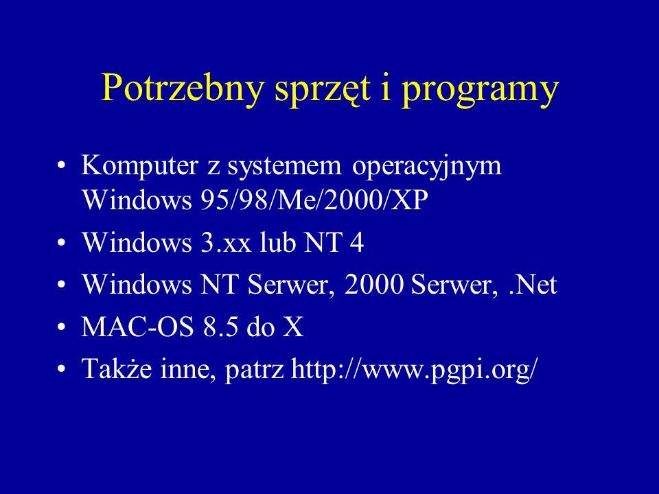 Opis dla systemów typu MS windows Pobrać wersję instalacyjną z: http://www.pgpi.org/products/pgp/versions/freeware/ lub http://www.pgp.com/display.php?pageID=83 lub ftp://sir.p.lodz.pl/Podpisy elektroniczne/ Polecane wersje to: 6.5.8 dla wszyskich poza windows XP i ME lub 8.0 dla windows XP i ME
