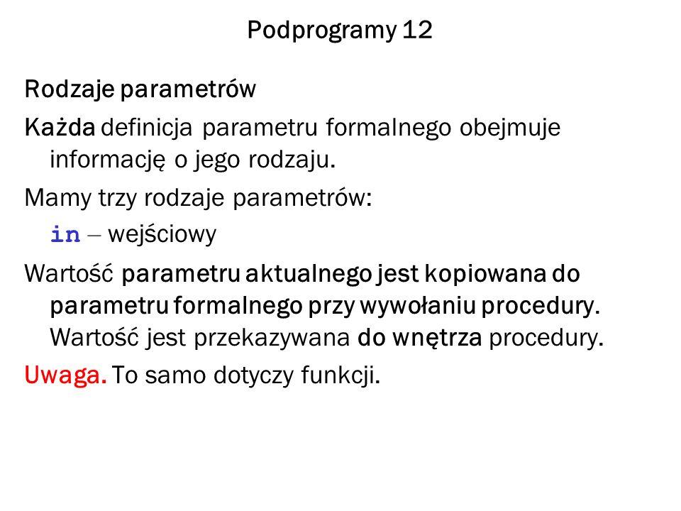 Podprogramy 12 Rodzaje parametrów Każda definicja parametru formalnego obejmuje informację o jego rodzaju. Mamy trzy rodzaje parametrów: in – wejściow