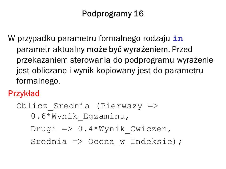 Podprogramy 16 W przypadku parametru formalnego rodzaju in parametr aktualny może być wyrażeniem. Przed przekazaniem sterowania do podprogramu wyrażen