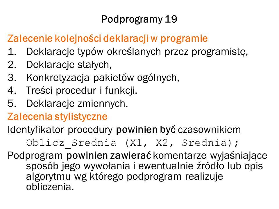 Podprogramy 19 Zalecenie kolejności deklaracji w programie 1.Deklaracje typów określanych przez programistę, 2.Deklaracje stałych, 3.Konkretyzacja pak