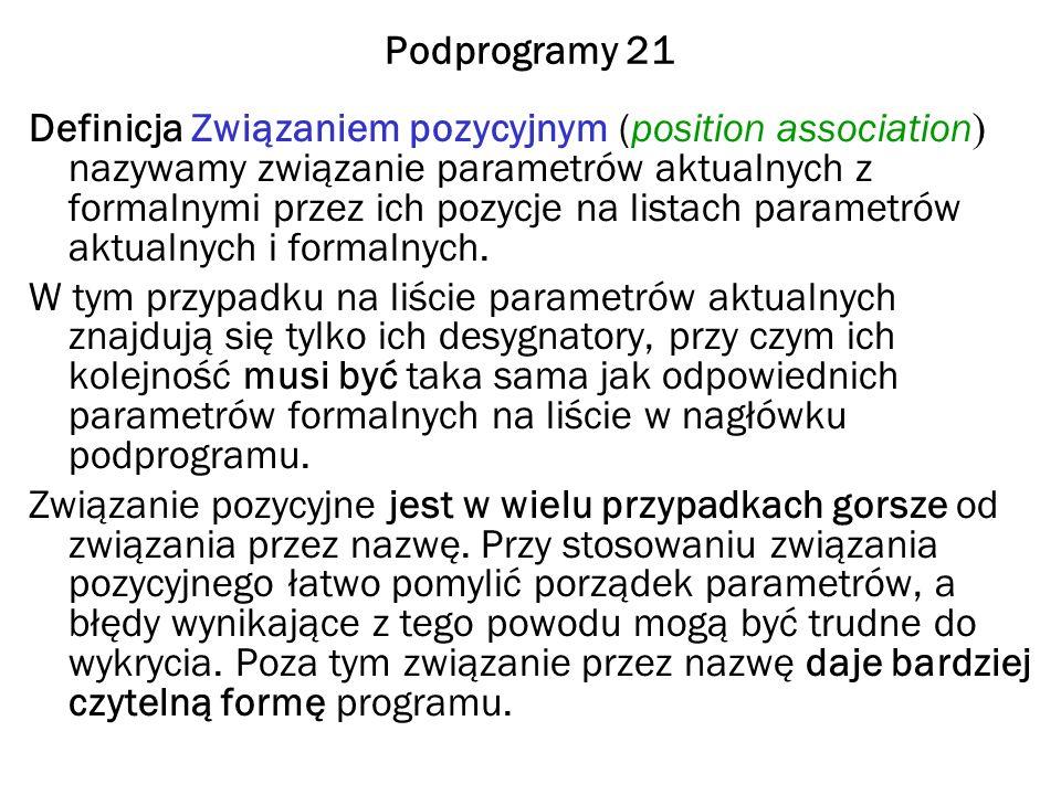 Podprogramy 21 Definicja Związaniem pozycyjnym (position association ) nazywamy związanie parametrów aktualnych z formalnymi przez ich pozycje na listach parametrów aktualnych i formalnych.