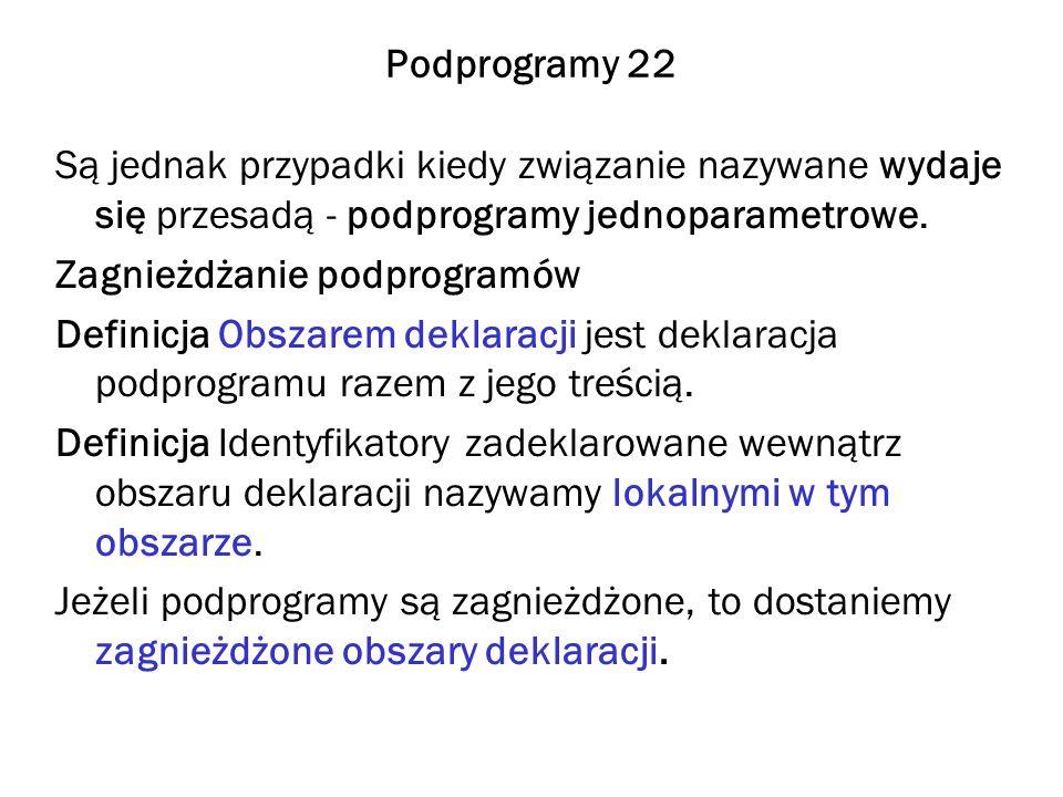 Podprogramy 22 Są jednak przypadki kiedy związanie nazywane wydaje się przesadą - podprogramy jednoparametrowe. Zagnieżdżanie podprogramów Definicja O