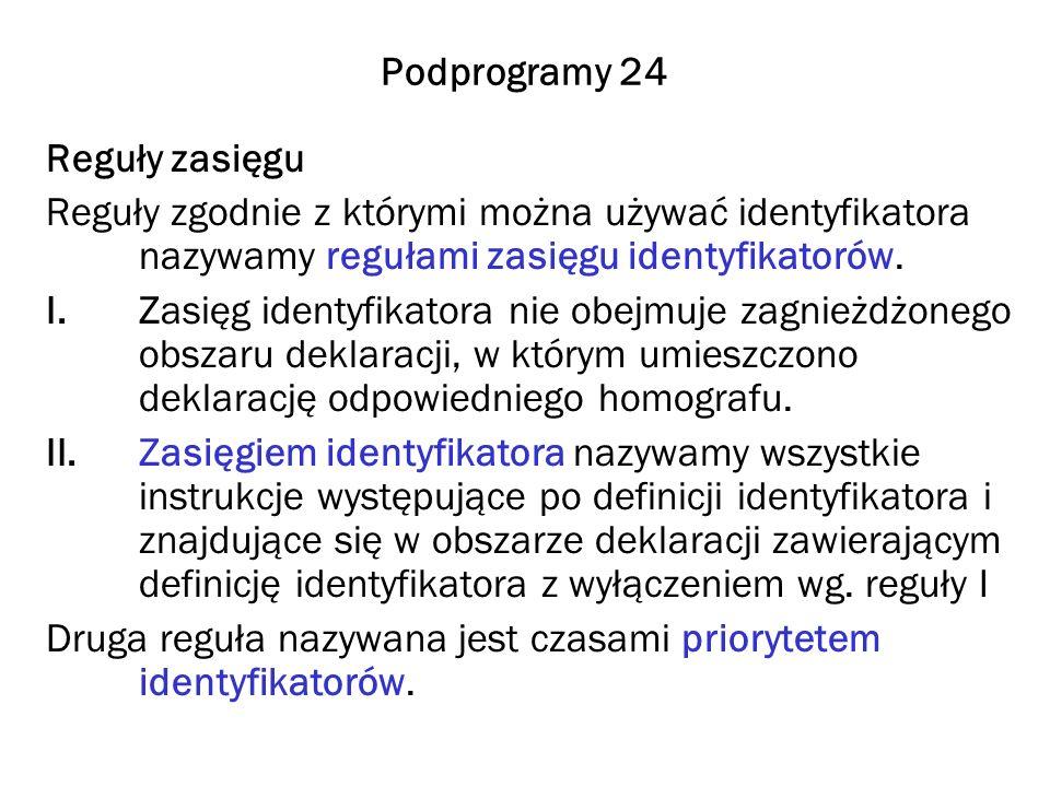 Podprogramy 24 Reguły zasięgu Reguły zgodnie z którymi można używać identyfikatora nazywamy regułami zasięgu identyfikatorów.