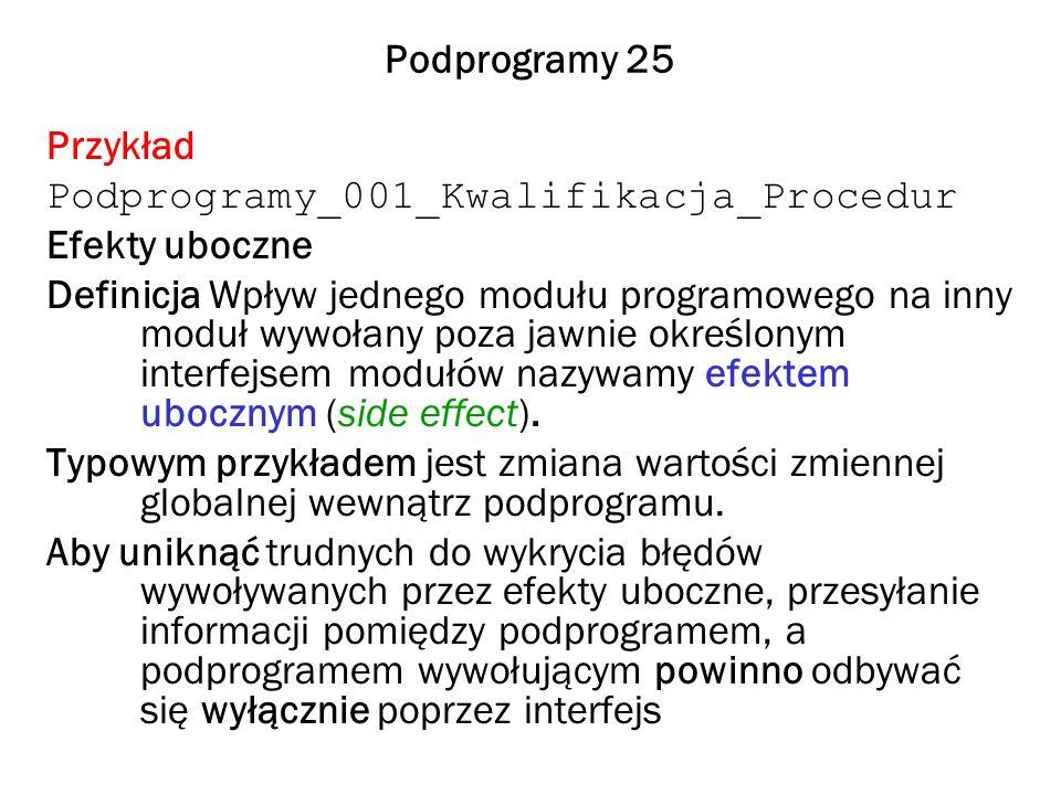 Podprogramy 25 Przykład Podprogramy_001_Kwalifikacja_Procedur Efekty uboczne Definicja Wpływ jednego modułu programowego na inny moduł wywołany poza j