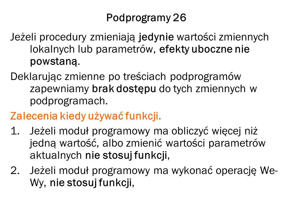 Podprogramy 26 Jeżeli procedury zmieniają jedynie wartości zmiennych lokalnych lub parametrów, efekty uboczne nie powstaną. Deklarując zmienne po treś