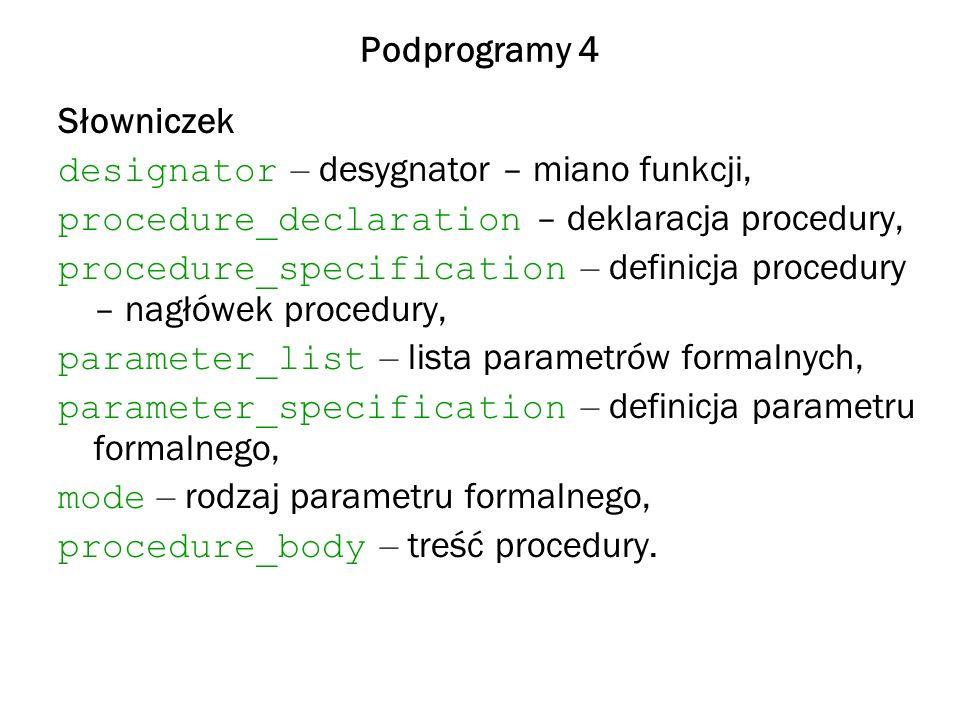 Podprogramy 4 Słowniczek designator – desygnator – miano funkcji, procedure_declaration – deklaracja procedury, procedure_specification – definicja procedury – nagłówek procedury, parameter_list – lista parametrów formalnych, parameter_specification – definicja parametru formalnego, mode – rodzaj parametru formalnego, procedure_body – treść procedury.
