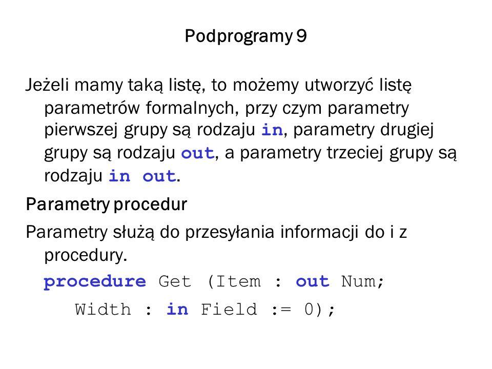 Podprogramy 9 Jeżeli mamy taką listę, to możemy utworzyć listę parametrów formalnych, przy czym parametry pierwszej grupy są rodzaju in, parametry dru