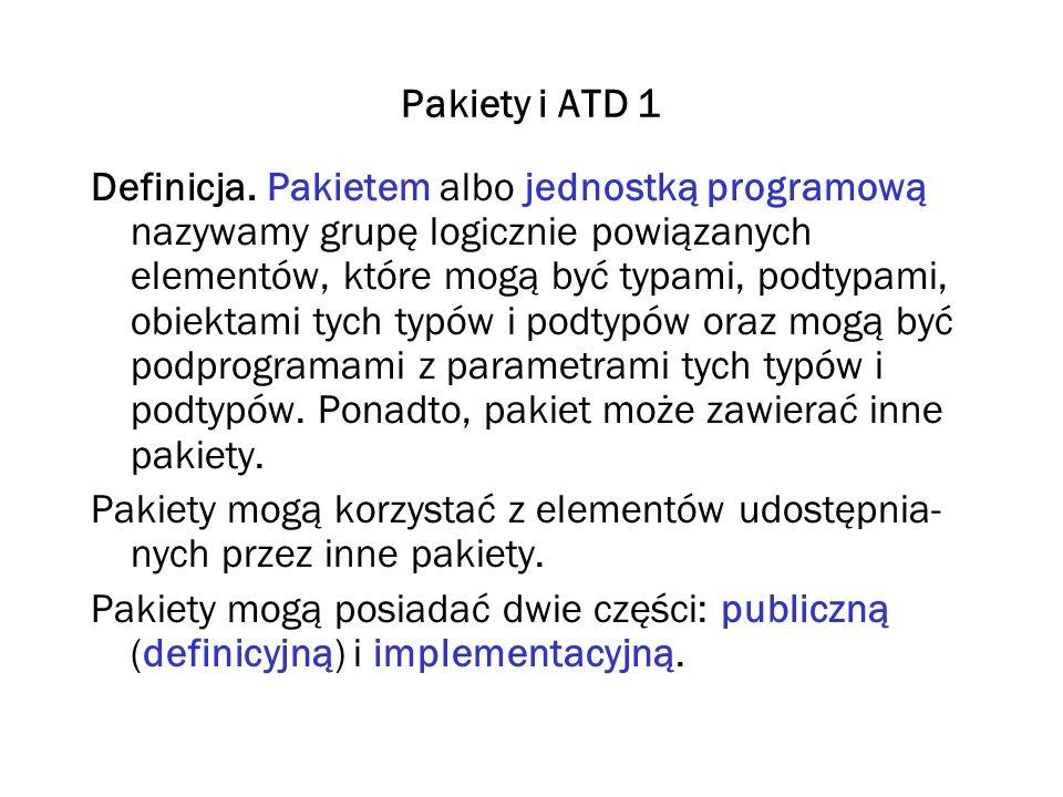 Pakiety i ATD 2 Część publiczna opisuje zasoby udostępniane przez pakiet jego użytkownikom.