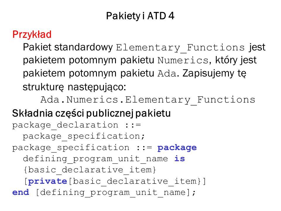 Pakiety i ATD 5 defining_program_unit_name ::= [parent_program_unit_name.]identifier basic_declarative_item ::= type_declaration | subtype_declaration | object_declaration | subprogram_declaration | generic_instantation| generic declaration