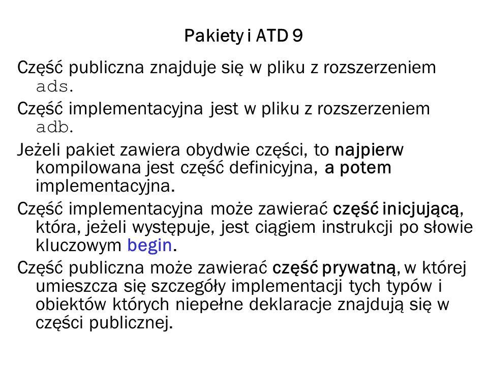 Pakiety i ATD 10 Rodzaje pakietów Pakiety definiujące Pakiety takie zawierają określenia stałych i typów używanych w kilku programach, albo używane przez różnych programistów opracowujących różne części dużego programu.