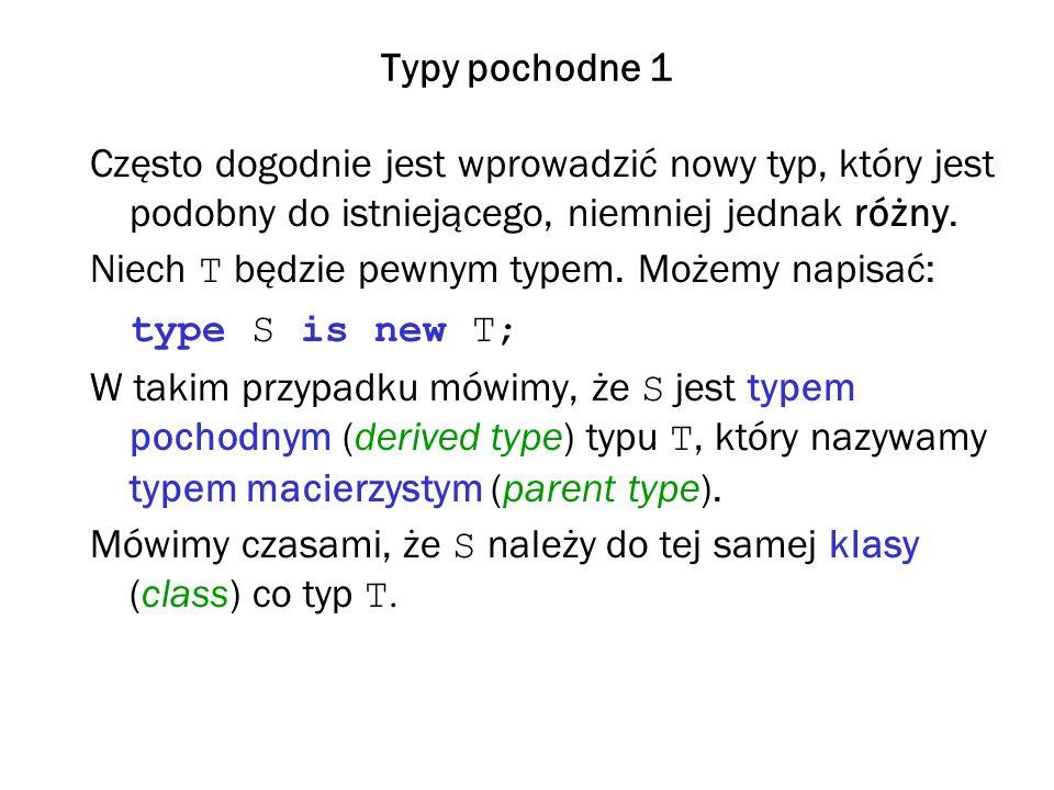 Typy pochodne 1 Często dogodnie jest wprowadzić nowy typ, który jest podobny do istniejącego, niemniej jednak różny.