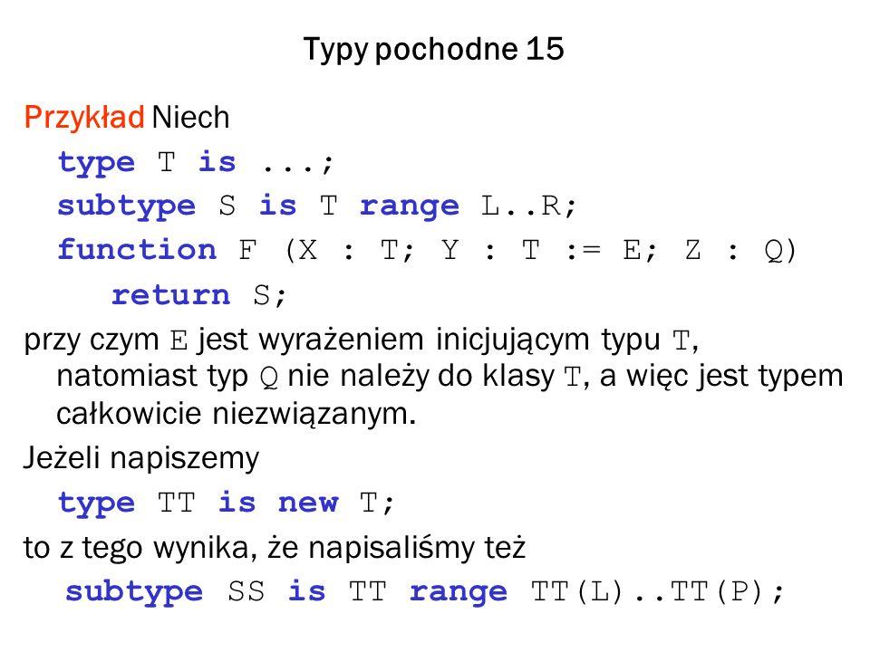 Typy pochodne 15 Przykład Niech type T is...; subtype S is T range L..R; function F (X : T; Y : T := E; Z : Q) return S; przy czym E jest wyrażeniem inicjującym typu T, natomiast typ Q nie należy do klasy T, a więc jest typem całkowicie niezwiązanym.