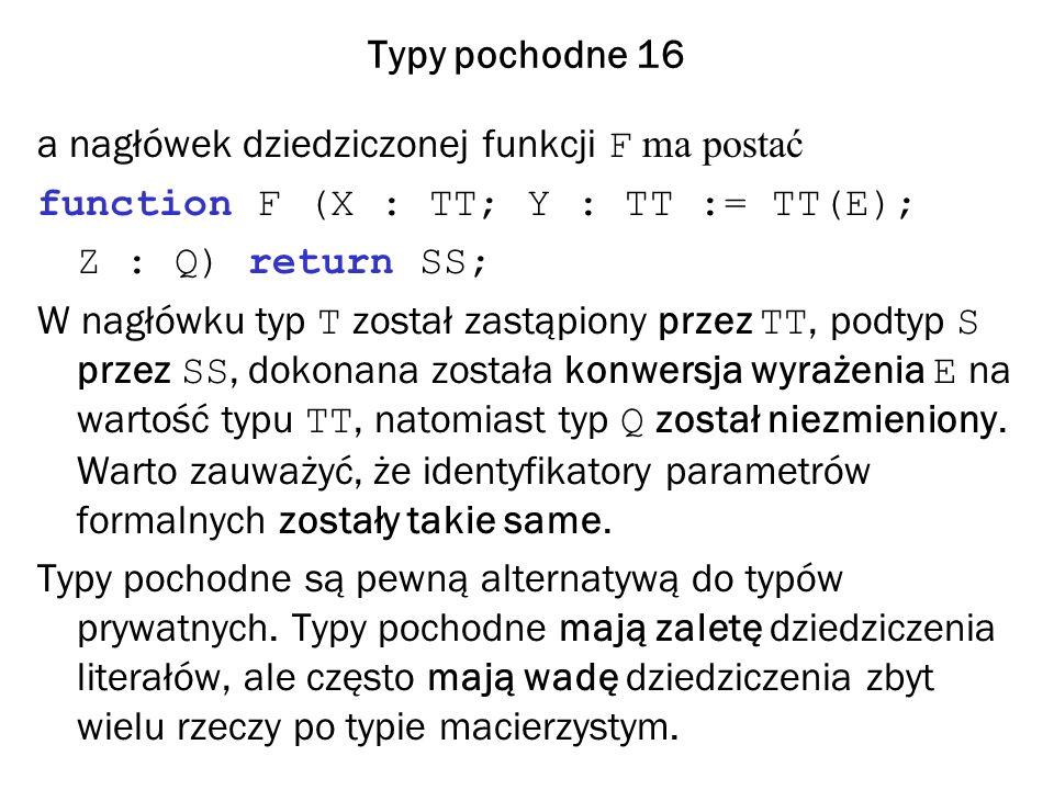 Typy pochodne 16 a nagłówek dziedziczonej funkcji F ma postać function F (X : TT; Y : TT := TT(E); Z : Q) return SS; W nagłówku typ T został zastąpiony przez TT, podtyp S przez SS, dokonana została konwersja wyrażenia E na wartość typu TT, natomiast typ Q został niezmieniony.