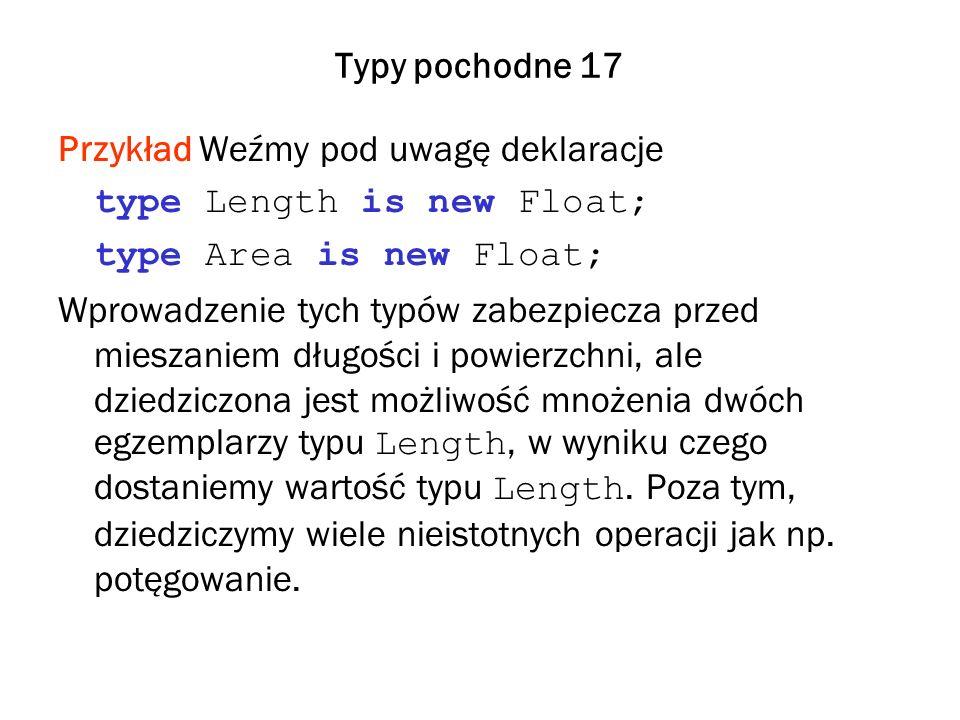 Typy pochodne 17 Przykład Weźmy pod uwagę deklaracje type Length is new Float; type Area is new Float; Wprowadzenie tych typów zabezpiecza przed mieszaniem długości i powierzchni, ale dziedziczona jest możliwość mnożenia dwóch egzemplarzy typu Length, w wyniku czego dostaniemy wartość typu Length.