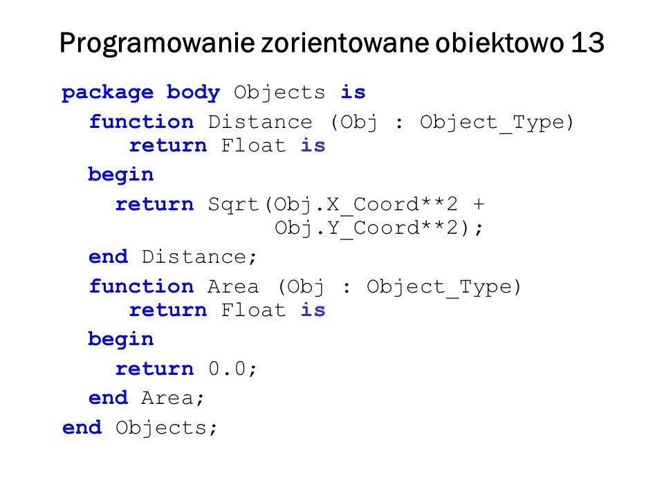 Programowanie zorientowane obiektowo 13 package body Objects is function Distance (Obj : Object_Type) return Float is begin return Sqrt(Obj.X_Coord**2 + Obj.Y_Coord**2); end Distance; function Area (Obj : Object_Type) return Float is begin return 0.0; end Area; end Objects;