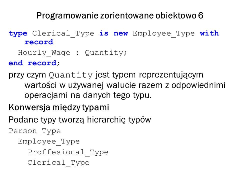 Programowanie zorientowane obiektowo 6 type Clerical_Type is new Employee_Type with record Hourly_Wage : Quantity; end record; przy czym Quantity jest typem reprezentującym wartości w używanej walucie razem z odpowiednimi operacjami na danych tego typu.