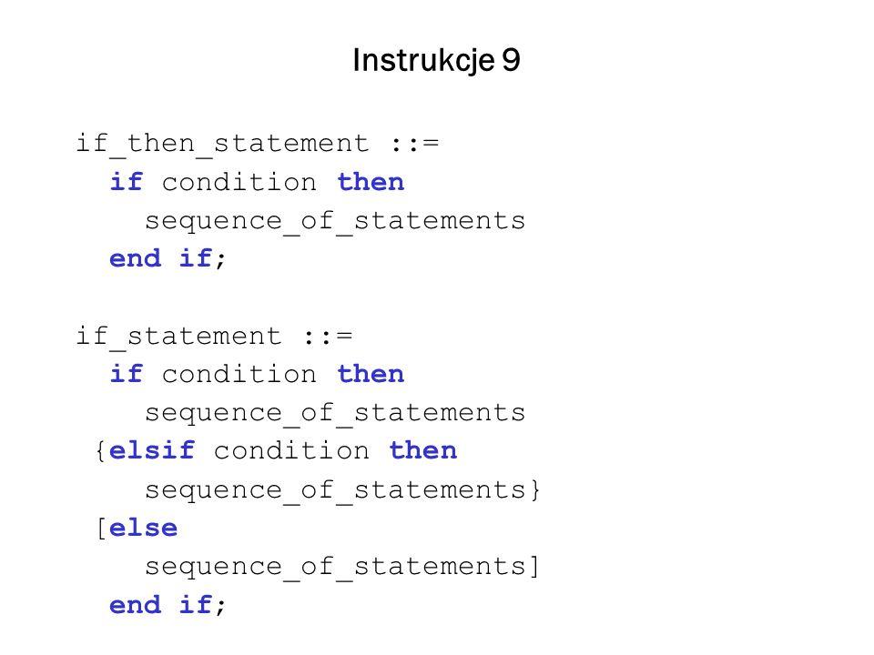 Instrukcje 10 Instrukcja wyboru case_statement ::= case expression is case_statement_alternative {case_statement_alternative} end case; case_statement_alternative ::= when discrete_choice_list => sequence_of_statements