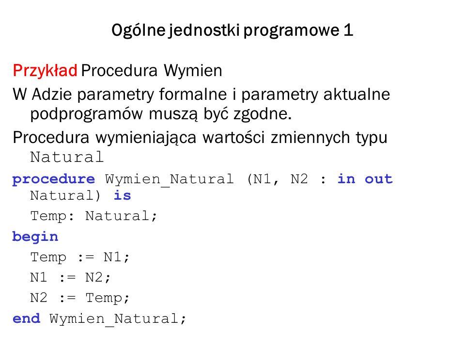Ogólne jednostki programowe 2 Ta sama procedura wymieniająca wartości zmiennych typu Float procedure Wymien_Float (F1, F2 : in out Float) is Temp: Float; begin Temp := N1; N1 := N2; N2 := Temp; end Wymien_Float; Przy wymianie danych innych typów musimy pisać nowe procedury i nigdy nie mamy pewności, że te które już napisaliśmy wyczerpią wszystkie aktualne i przyszłe potrzeby programów klienckich.
