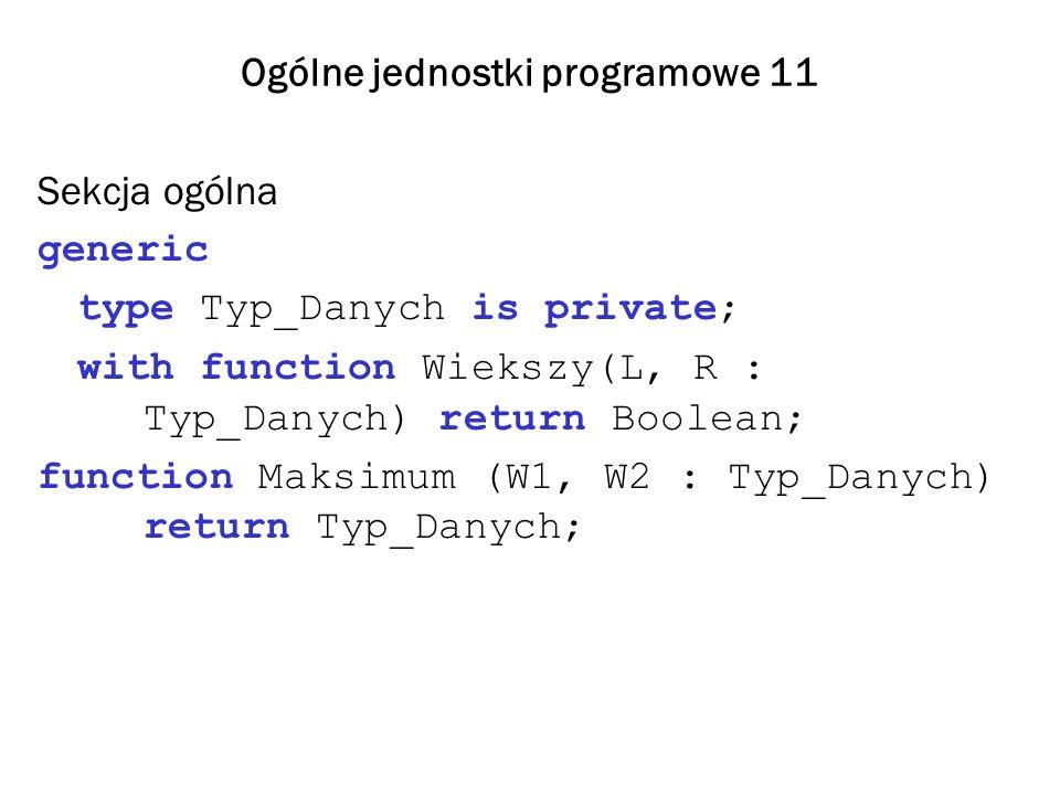 Ogólne jednostki programowe 11 Sekcja ogólna generic type Typ_Danych is private; with function Wiekszy(L, R : Typ_Danych) return Boolean; function Mak
