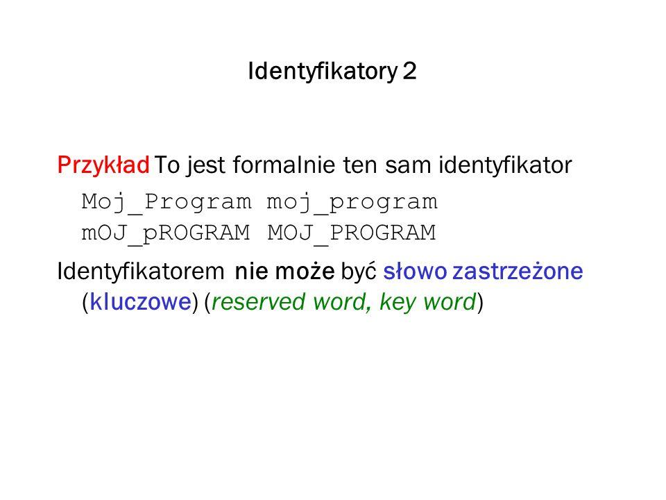 Identyfikatory 2 Przykład To jest formalnie ten sam identyfikator Moj_Program moj_program mOJ_pROGRAM MOJ_PROGRAM Identyfikatorem nie może być słowo z