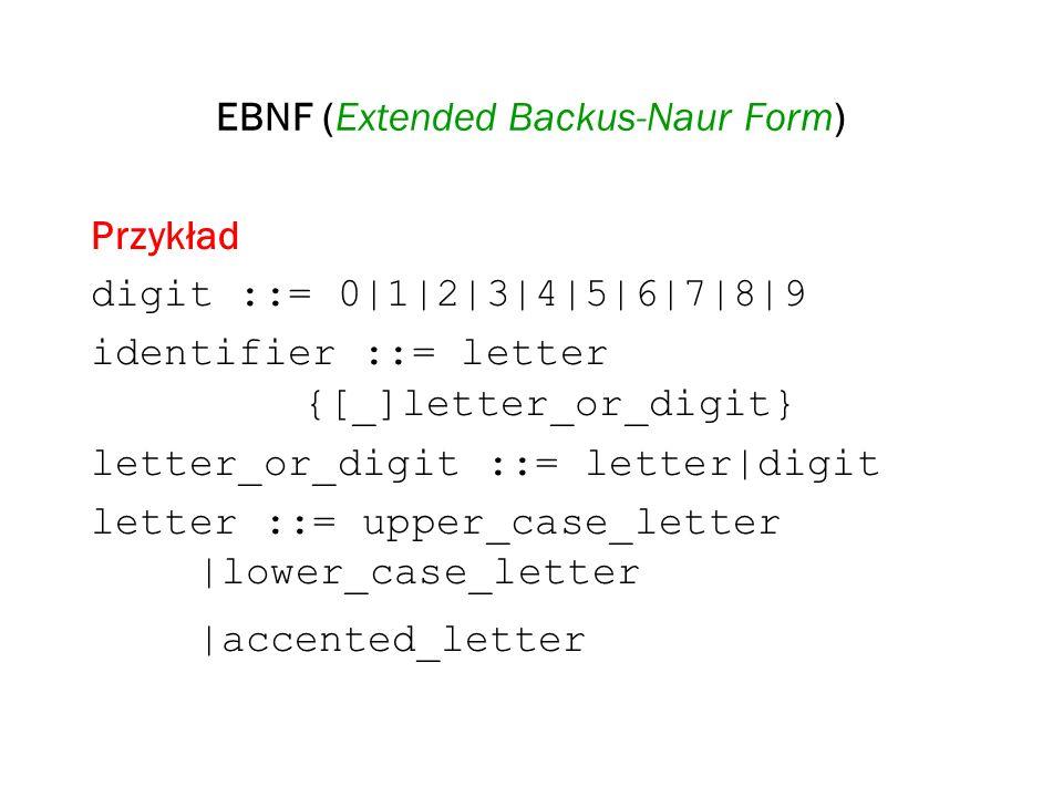 EBNF (Extended Backus-Naur Form) Przykład digit ::= 0|1|2|3|4|5|6|7|8|9 identifier ::= letter {[_]letter_or_digit} letter_or_digit ::= letter|digit le