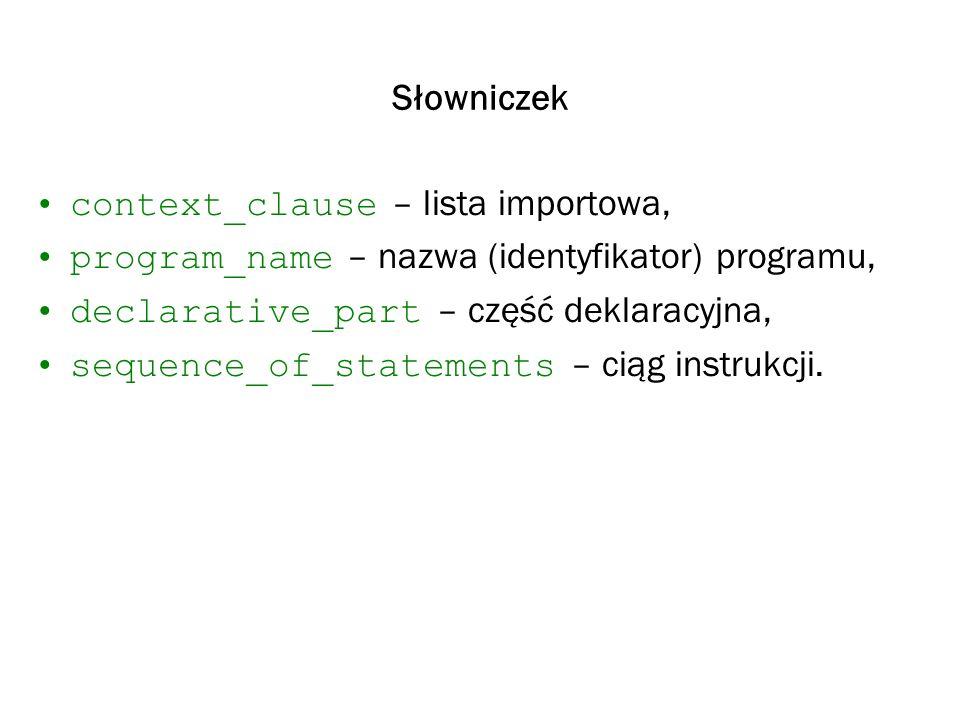 Słowniczek context_clause – lista importowa, program_name – nazwa (identyfikator) programu, declarative_part – część deklaracyjna, sequence_of_stateme