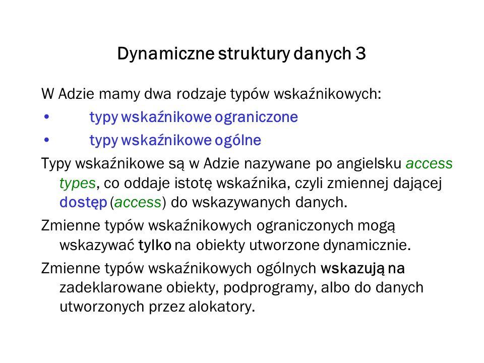 Dynamiczne struktury danych 3 W Adzie mamy dwa rodzaje typów wskaźnikowych: typy wskaźnikowe ograniczone typy wskaźnikowe ogólne Typy wskaźnikowe są w