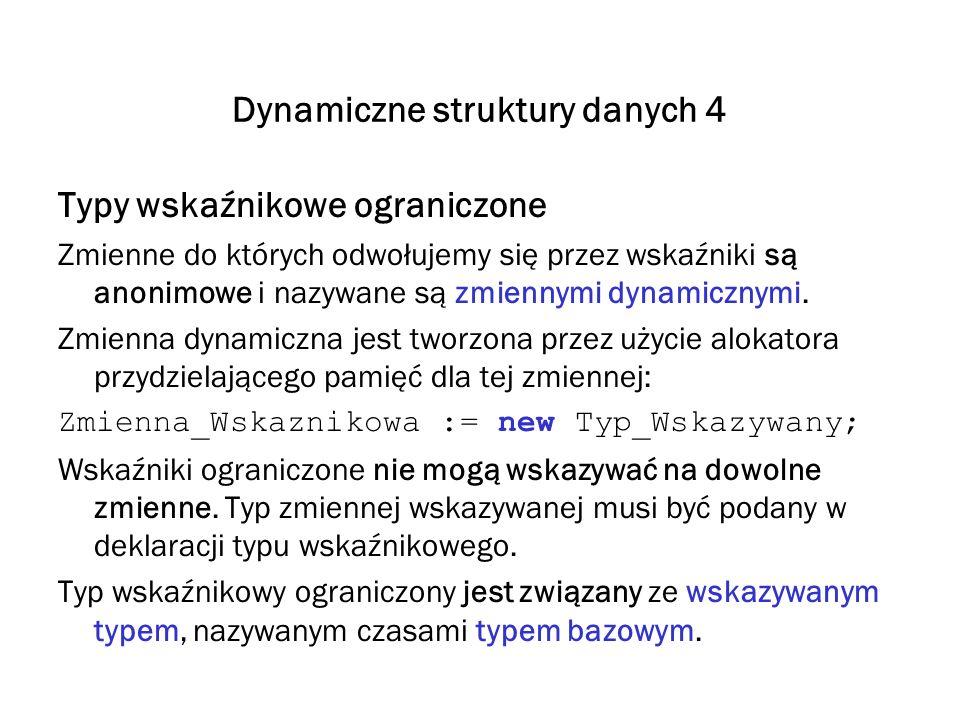 Dynamiczne struktury danych 4 Typy wskaźnikowe ograniczone Zmienne do których odwołujemy się przez wskaźniki są anonimowe i nazywane są zmiennymi dyna