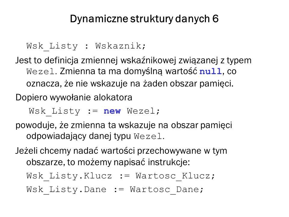 Dynamiczne struktury danych 6 Wsk_Listy : Wskaznik; Jest to definicja zmiennej wskaźnikowej związanej z typem Wezel. Zmienna ta ma domyślną wartość nu