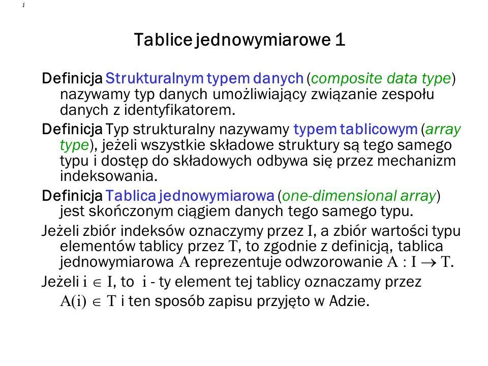 Tablice jednowymiarowe 1 Definicja Strukturalnym typem danych (composite data type) nazywamy typ danych umożliwiający związanie zespołu danych z ident