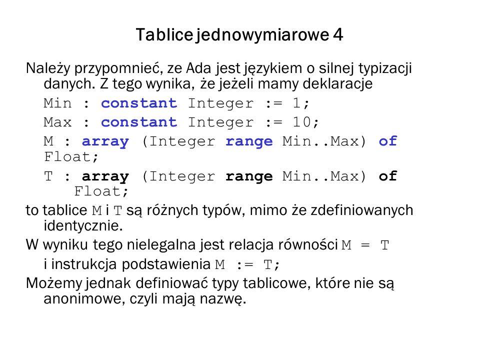 Tablice jednowymiarowe 4 Należy przypomnieć, ze Ada jest językiem o silnej typizacji danych. Z tego wynika, że jeżeli mamy deklaracje Min : constant I