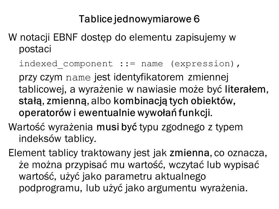 Tablice jednowymiarowe 6 W notacji EBNF dostęp do elementu zapisujemy w postaci indexed_component ::= name (expression), przy czym name jest identyfik