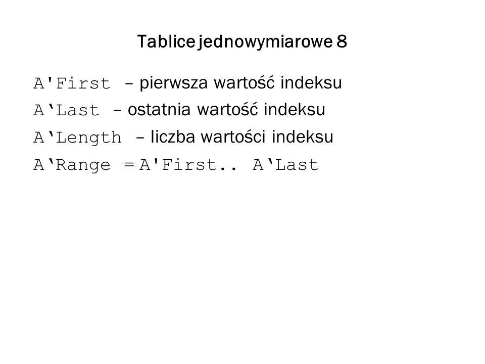 Tablice jednowymiarowe 8 A'First – pierwsza wartość indeksu ALast – ostatnia wartość indeksu ALength – liczba wartości indeksu ARange = A'First.. ALas