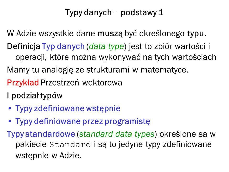 Typy danych – podstawy 1 W Adzie wszystkie dane muszą być określonego typu. Definicja Typ danych (data type) jest to zbiór wartości i operacji, które