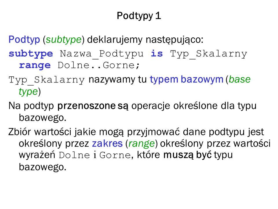 Podtypy 1 Podtyp (subtype) deklarujemy następująco: subtype Nazwa_Podtypu is Typ_Skalarny range Dolne..Gorne; Typ_Skalarny nazywamy tu typem bazowym (