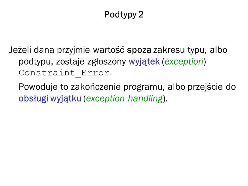 Podtypy 2 Jeżeli dana przyjmie wartość spoza zakresu typu, albo podtypu, zostaje zgłoszony wyjątek (exception) Constraint_Error. Powoduje to zakończen